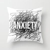 anxiety Throw Pillows featuring anxiety by petrsvetr