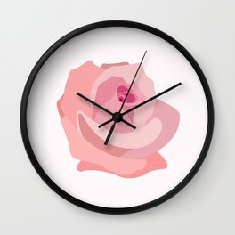 Pink Rose Illustration Wall Clock