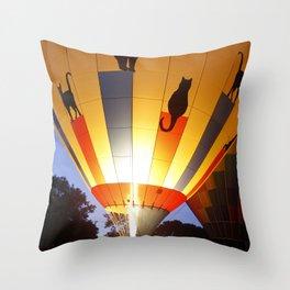 Kitty Hot-Air Balloon Throw Pillow