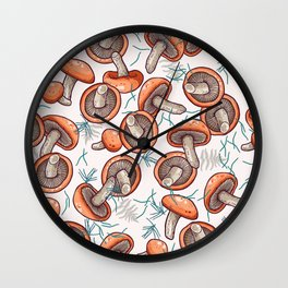 tasty shiitake pattern Wall Clock
