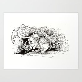 The Guinea Pig Heroically Battles the Mighty Dragon Art Print