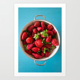 Strawberries on Blue Art Print