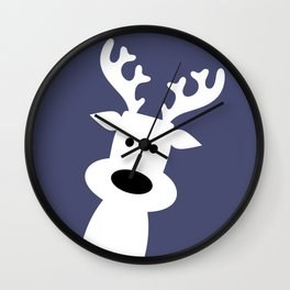 Reindeer on blue background Wall Clock