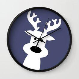 Reindeer on blue background Wall Clock
