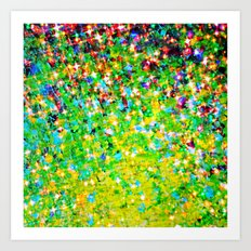 HOLIDAY CHEER - Bold Christmas Festive Green Red Yellow Sparkle Stars Glitter Bling Abstract Art Art Print