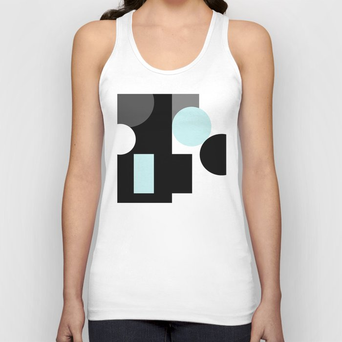 An abstract geometric pattern . Geometric shapes . Black sky blue white pattern . Unisex Tank Top