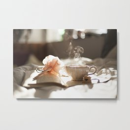 Morning Reflections- journal with a flower pen and a hot drink Metal Print
