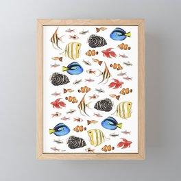 Tropical Fish on White - pattern Framed Mini Art Print