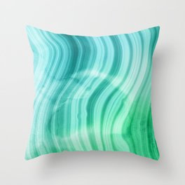 Ocean Blue And Green Mermaid  Marble Throw Pillow
