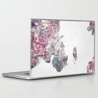 copenhagen Laptop & iPad Skins featuring Copenhagen map by MapMapMaps.Watercolors