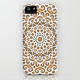 16 Fold Mandala in Orange iPhone Case