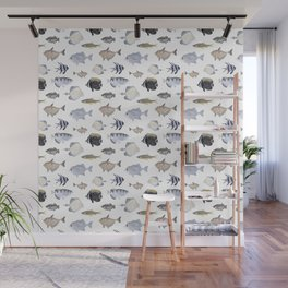 Fish Pattern - Blue & Gray Watercolor Theme Wall Mural
