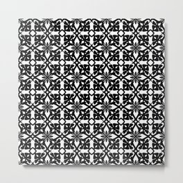 Ethnic tile pattern black Metal Print