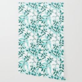 fresh green leaf pattern Wallpaper
