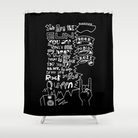 lettering Shower Curtains featuring Lettering Lyrics by Insait