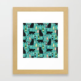 Black cat wine champagne cocktails cat breeds cat lover pattern art print Framed Art Print