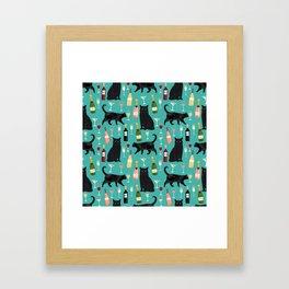 Black cat wine champagne cocktails cat breeds cat lover pattern art print Framed Art Print
