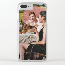 Woman with Umbrella Clear iPhone Case