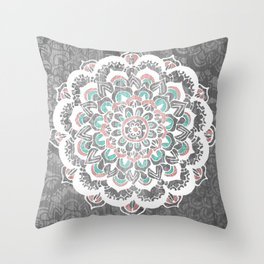 Pastel Floral Medallion on Faded Silver Wood Throw Pillow
