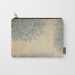YESTERYEAR textured vintage ivory background with pale blue grey floral pattern Carry-All Pouch