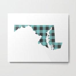 Maryland Plaid in Mint Metal Print