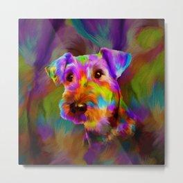 Colorful Airedale Terrier Portrait Metal Print