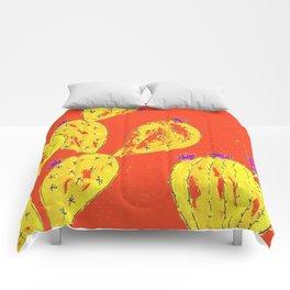 Orange cacti garden Comforters