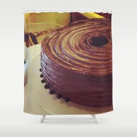 chocolate Shower Curtains featuring Chocolate by Hector Wong