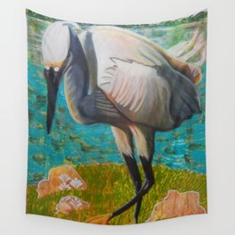 Egret Ready to Strike Wall Tapestry