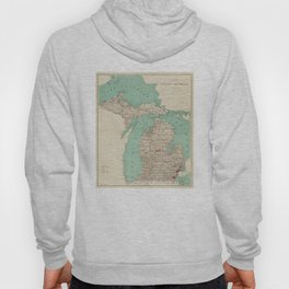 Vintage Map of Michigan (1888) Hoody