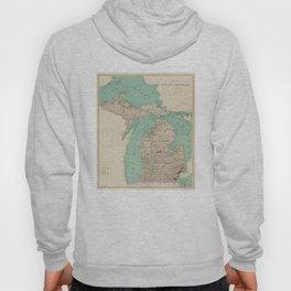 Vintage Map of Michigan (1888) Hoody