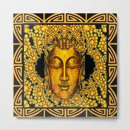 ART DECO DARK GOLD BUDDHA BLACK ABSTRACT Metal Print