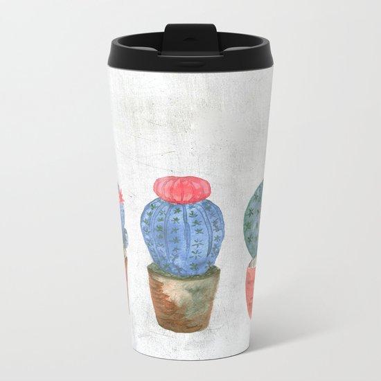 Three Blue Cacti watercolor Metal Travel Mug