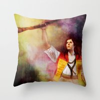enjolras Throw Pillows featuring  Les Misérables Enjolras Genderbend by Kjerstin A
