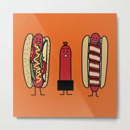 Hot dog bros Chicago style Bacon wrapped wiener Metal Print