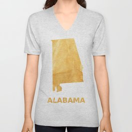 Alabama map outline Sunny yellow watercolor Unisex V-Neck