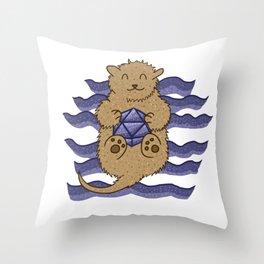 Otter Holding d20 Throw Pillow