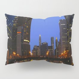 Lights Strike Gold on Chicago River (Chicago Architecture Collection) Pillow Sham