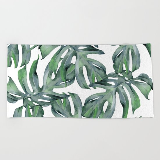 Tropical Palm Leaves Green Beach Towel