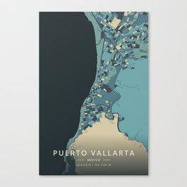 Puerto Vallarta, Mexico - Cream Blue Canvas Print