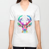 deer V-neck T-shirts featuring deer by mark ashkenazi