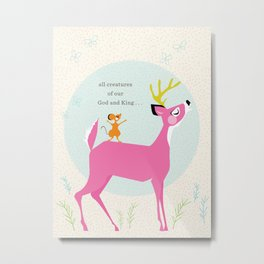 Deer & Mouse Singing Metal Print