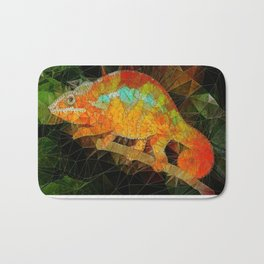 welcome to the jungle, abstract chameleon Bath Mat