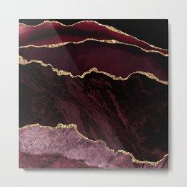 Burgundy Geode & Gold Glitter // 02 Metal Print