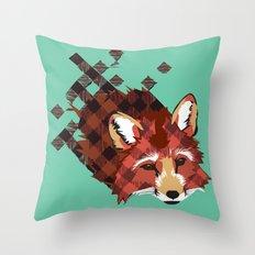 Plaid Fox Throw Pillow