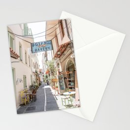 Street In Greece Photo | Pastel Village Houses Summer Art Print | Europe Digital Travel Photography Stationery Cards