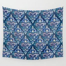 Persian Floral pattern blue and silver Wall Tapestry