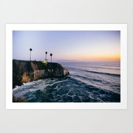 Cliff at Sunset Art Print