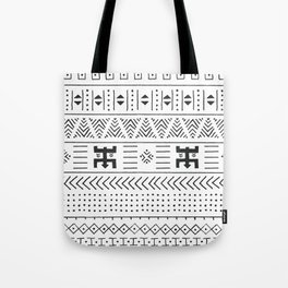 Black and white tribal ethnic pattern with geometric elements, traditional African mud cloth, tribal Tote Bag