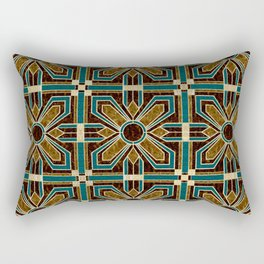 Art Deco Flowers in Brown and Teal Rectangular Pillow